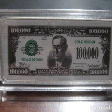 Monedas antiguas de América: 100.000 DOLARES LINGOTE PLATA LAMINADA. Lote 292323733
