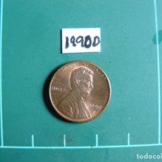 Monedas antiguas de América: MONEDA DE USA 1 CENTAVO 1990D. Lote 293199228