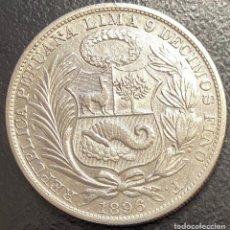 Moedas antigas da América: PERÚ, MONEDA DE PLATA DE 1 SOL, AÑO 1896F. Lote 293413738