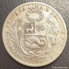 Moedas antigas da América: PERÚ, MONEDA DE PLATA DE 1 SOL, AÑO 1890TF. Lote 293414133