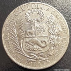 Moedas antigas da América: PERÚ, MONEDA DE PLATA DE 1 SOL, AÑO 1884RD. Lote 293414403