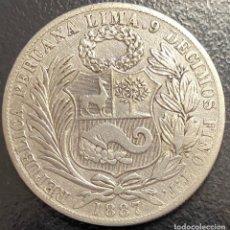 Monedas antiguas de América: PERÚ, MONEDA DE PLATA DE 1 SOL, AÑO 1887TF. Lote 293415398