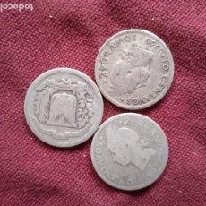 Monedas antiguas de América: REPÚBLICA DOMINICANA. 3 MONEDAS DE 10 CENTAVOS DE PLATA. Lote 295352768