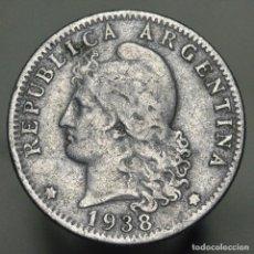 Monedas antiguas de América: 20 CENTAVOS ARGENTINA 1938. Lote 295500513