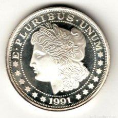 Monedas antiguas de América: USA 1 ONZA TROY PLATA PURA 1991 TIPO MORGAN - SERIE MONEDAS AMERICANAS. Lote 295898733