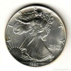 Monedas antiguas de América: USA: 1 DOLAR PLATA 1990 - 1 OZ AMERICAN SILVER EAGLE COIN (BU) DOLLAR SILVER. Lote 295900043
