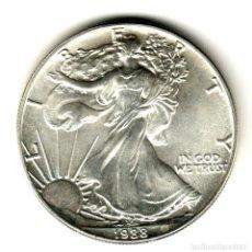 Monedas antiguas de América: USA: 1 DOLAR PLATA 1988 - 1 OZ AMERICAN SILVER EAGLE COIN (BU) DOLLAR SILVER. Lote 295900543