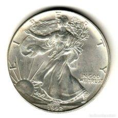 Monedas antiguas de América: USA: 1 DOLAR PLATA 1992 - 1 OZ AMERICAN SILVER EAGLE COIN (BU) DOLLAR SILVER. Lote 295902538