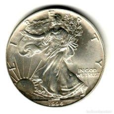 Monedas antiguas de América: USA: 1 DOLAR PLATA 1994 - 1 OZ AMERICAN SILVER EAGLE COIN (BU) DOLLAR SILVER. Lote 295903643