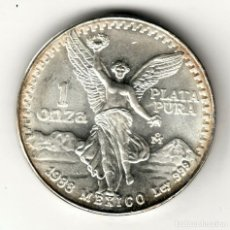 Monedas antiguas de América: MEXICO 1 ONZA PLATA PURA 1988 S/C ANGEL ALADO - FECHA ESCASA. Lote 295976723