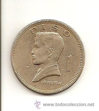 MUY ESCASA MONEDA DE LA REPUBLICA DE FILIPINAS - BANCO CENTRAL 1972 (NIQUEL) 1 PESO, JOSE RIZAL. MBC (Numismática - Extranjeras - Asia)