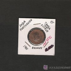 Monedas antiguas de Asia: GRAN PIEZA DE LA INDIA PORTUGUESA 1/8 TANGA OITAVO DE 1901 COBRE BC. Lote 31189476