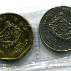 Monedas antiguas de Asia: 2 MONEDAS DIFERENTES DE SINGAPUR.. Lote 31272437