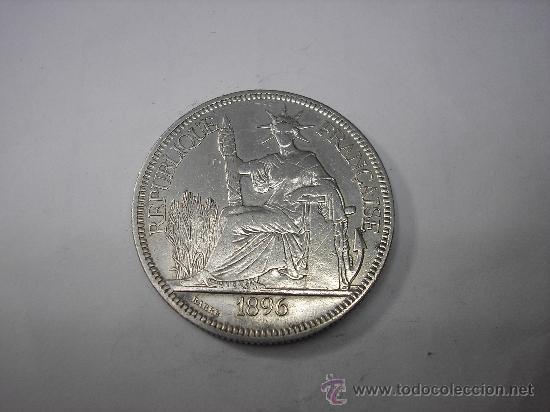 1 PIASTRA DE PLATA DE 1896. INDOCHINA FRANCESA (Numismática - Extranjeras - Asia)