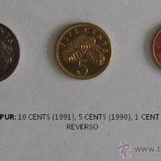 Monedas antiguas de Asia: MONEDAS DE SINGAPUR: 10 CENTS (1991), 5 CENTS (1990) Y 1 CENT (1993). Lote 39316915