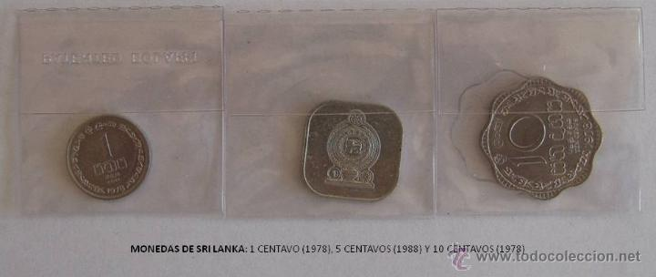 MONEDAS DE SRI LANKA: 1 CENTAVO (1978), 5 CENTAVOS (1988) Y 10 CENTAVOS (1978) (Numismática - Extranjeras - Asia)