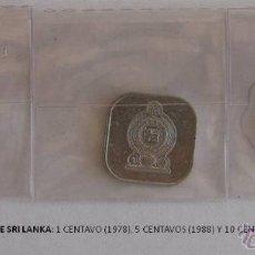 Monedas antiguas de Asia: MONEDAS DE SRI LANKA: 1 CENTAVO (1978), 5 CENTAVOS (1988) Y 10 CENTAVOS (1978). Lote 39347647