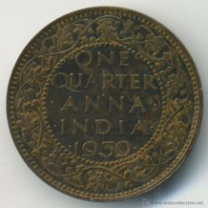 Monedas antiguas de Asia: INDIA, JORGE VI. ONE QUARTER ANNA. 1939. Lote 41011296