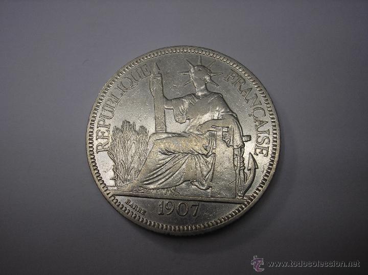INDOCHINA FRANCESA. 1 PIASTRA DE PLATA DE 1907 (Numismática - Extranjeras - Asia)