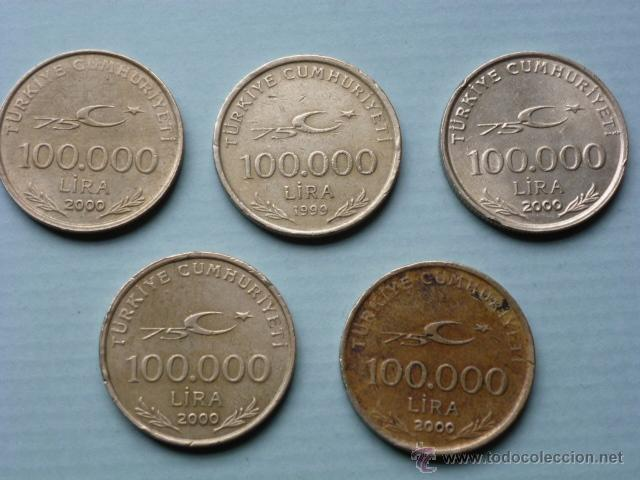 LOTE 5 MONEDAS 100000 LIRAS TURCAS (Numismática - Extranjeras - Asia)