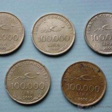 Monedas antiguas de Asia: LOTE 5 MONEDAS 100000 LIRAS TURCAS. Lote 44603415