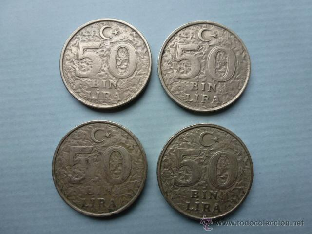 LOTE DE 4 MONEDAS 50 BIN TURCAS (Numismática - Extranjeras - Asia)