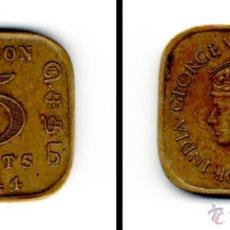 Monedas antiguas de Asia: MONEDA DE 5 CENTS , CEILAN ( SRI LANKA ) CEYLON 1944. Lote 47498414