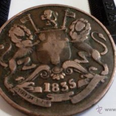 Monedas antiguas de Asia: INDIA BRITANICA 1/2 ANNA DE 1835. Lote 48842182
