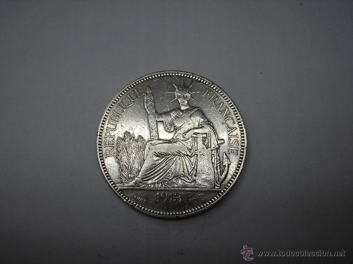 1 PIASTRA DE PLATA DE 1913. INDOCHINA FRANCESA (Numismática - Extranjeras - Asia)