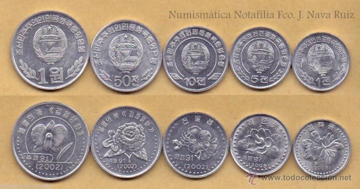 Corea Del Norte Set 1 5 10 50 Chon 1 Won 2002 2 Sold Through