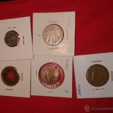 Monedas antiguas de Asia: LOTE 5 MONEDAS ASIA : JAPON 2MONEDAS 10 YENES, INDIA, ISRAEL . Lote 98718047