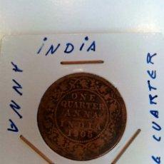 Monedas antiguas de Asia: INDIA BRITANICA ONE QUARTER ANNA 1905. Lote 54589621