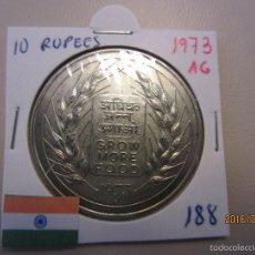 Monedas antiguas de Asia: INDIA 10 RUPIAS 1973 KM188 SC PLATA. Lote 56646275