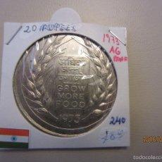 Monedas antiguas de Asia: INDIA 20 RUPIAS 1973 KM240 PROOF PLATA. Lote 56646354