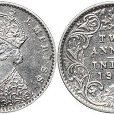Monedas antiguas de Asia: *** MUY BONITOS Y ESCASOS 2 ANNAS 1901 INDIA BRITÁNICA, PLATA. KM#488 ***. Lote 57051644