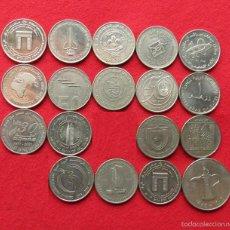 Monedas antiguas de Asia: EMIRATOS ÁRABES UNIDOS 18 X 1 DIRHAM DIFERENTES. Lote 56282894