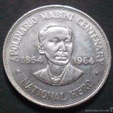 Monedas antiguas de Asia: FILIPINAS 1 PESO 1964 -PLATA-. Lote 57494215