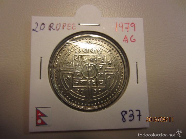 NEPAL 20 RUPEE 1979 KM837 SC PLATA (Numismática - Extranjeras - Asia)