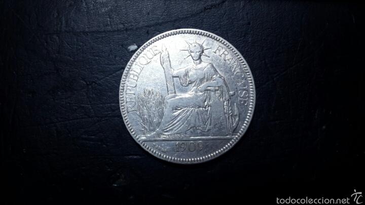 INDOCHINA FRANCESA 1 PIASTRA 1909 PLATA, MAGNIFICA Y RARA PIASTRA DE COMERCIO (Numismática - Extranjeras - Asia)