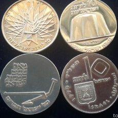 Monedas antiguas de Asia: LOTE DE 4 MONEDAS DE 10 LIROT DE PLATA DE ISRAEL.. 104 GRAMOS, PLATA, CONSULTAR SUELTAS. Lote 60932345