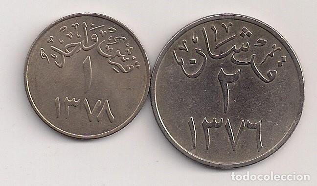 ARABIA SAUDÍ - 2 MONEDAS DE 1 Y 2 GHIRSH 1376-1378 KM# 40-41 (Numismática - Extranjeras - Asia)