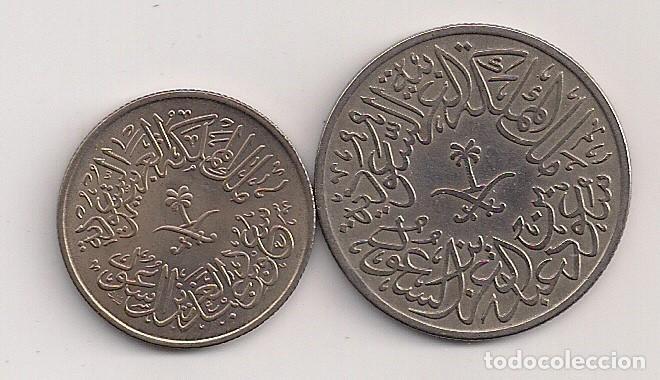 Monedas antiguas de Asia: Arabia saudí - 2 monedas de 1 y 2 ghirsh 1376-1378 Km# 40-41 - Foto 2 - 61864728