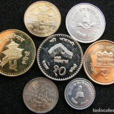 Monedas antiguas de Asia: NEPAL SERIE 7 MONEDAS. 10 PAISA - 10 RUPEE UNC. Lote 186069132