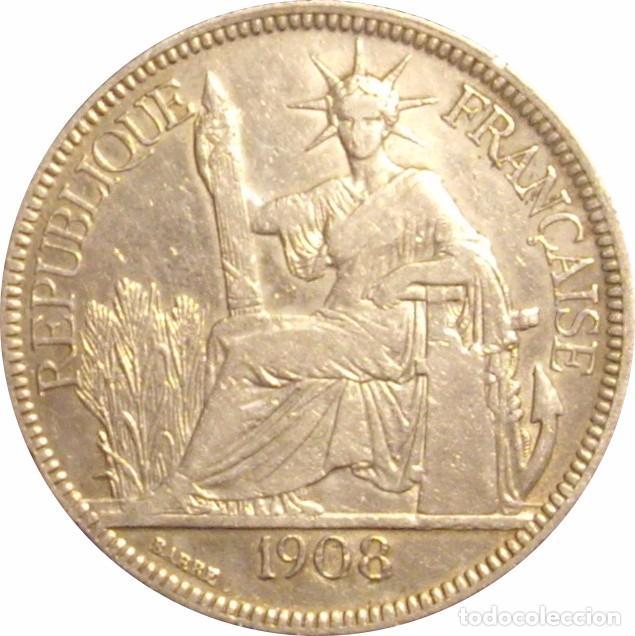INDOCHINA FRANCESA. 1 PIASTRA. 1.908. PLATA (Numismática - Extranjeras - Asia)