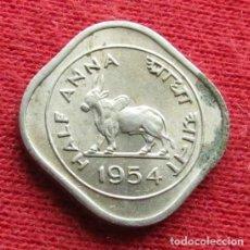 Monedas antiguas de Asia: INDIA 1/2 ANNA 1954 C CALCUTTA. Lote 88737976
