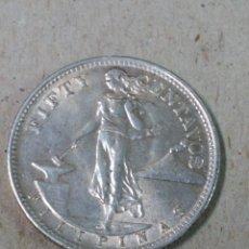 Monedas antiguas de Asia: MONEDA PLATA 50 CENTAVOS FILIPINAS, ADM ESTADOS UNIDOS 1944. Lote 156478906