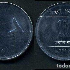 Monedas antiguas de Asia: INDIA 1 RUPIA AÑO 2008 ( LEON ATROPOFORFO ) Nº4. Lote 92217720