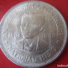 Monedas antiguas de Asia: FILIPINAS. UN PESO DE PLATA.1963. 100 Aº NACIMIENTO DE ANDRES BONIFACIO. Lote 93080935