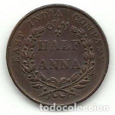 Monedas antiguas de Asia: EAST INDIA COMPANY ANTIGUA MONEDA DE HALF ANNA 1835 - EBC++ RARA - CONSERVA BRILLO ORIGINAL. Lote 93905365