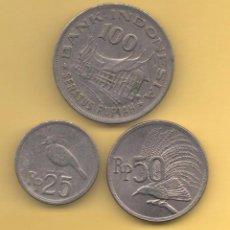 Monedas antiguas de Asia: INDONESIA - SERIE 3 MONEDAS LOTE. Lote 103628915